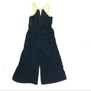 Trouve blue yellow  full length jumpsuit wide leg